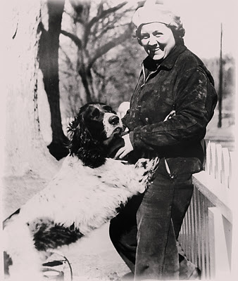 Gladys Taber photographed with her dog