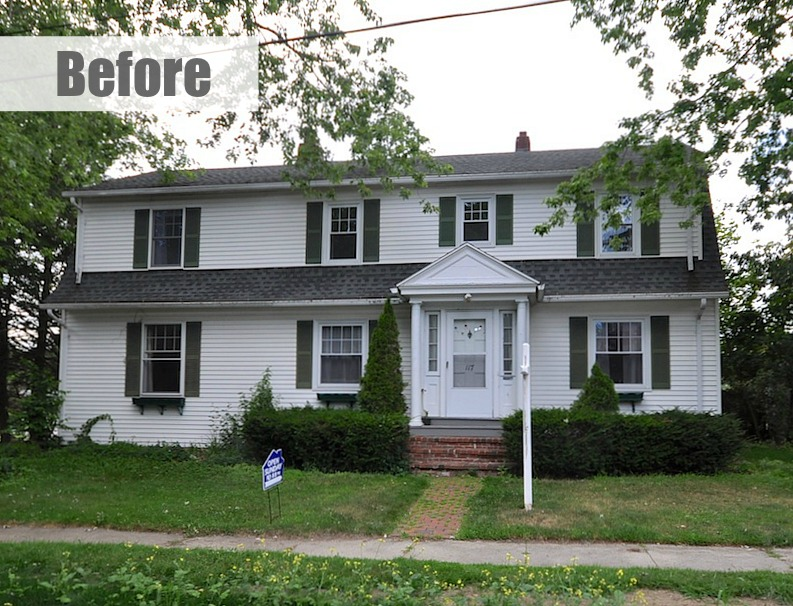 Updating a 1930s colonial gambrel in maine before and after for Before after exterior 1930