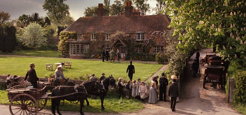 front of Peppard Cottage Howards End movie