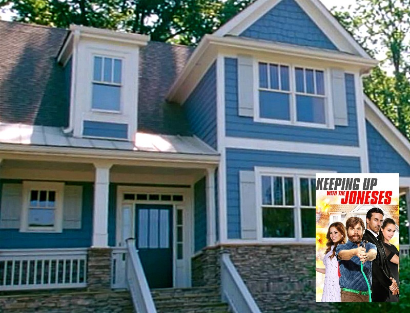 Blue house from Keeping Up with the Joneses movie with movie poster inset