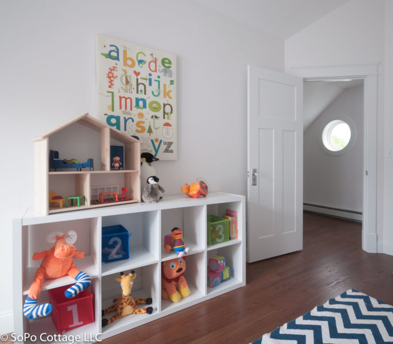 Playroom cubbies with toys