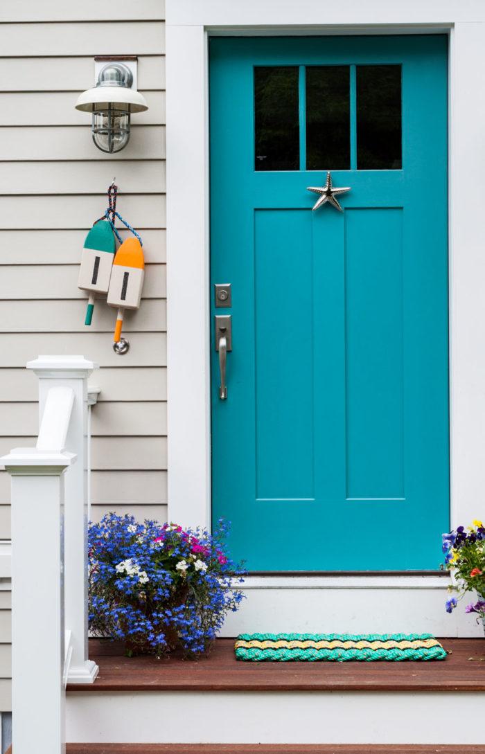 Bright teal blue door