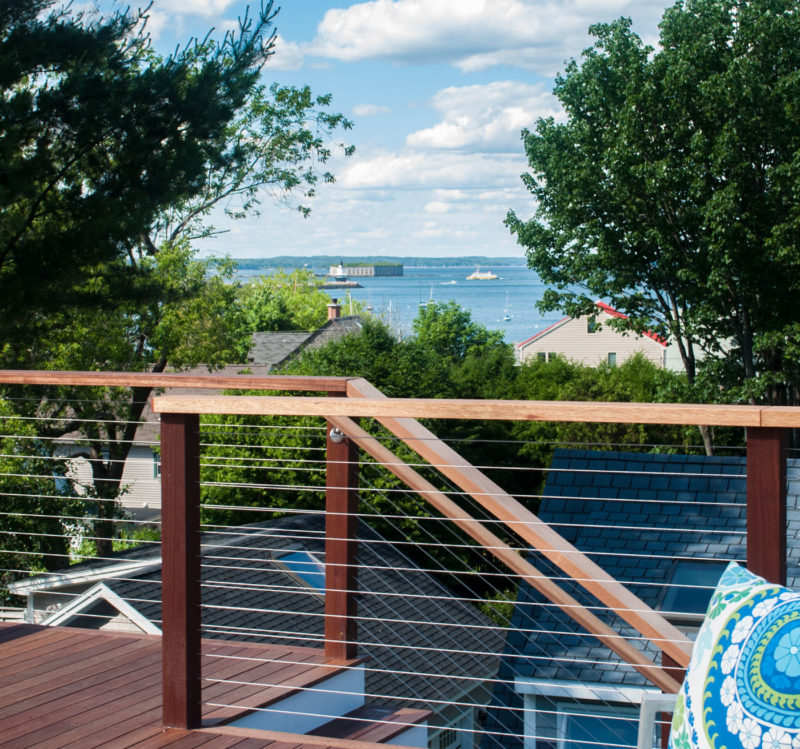 Upper deck railing with water views