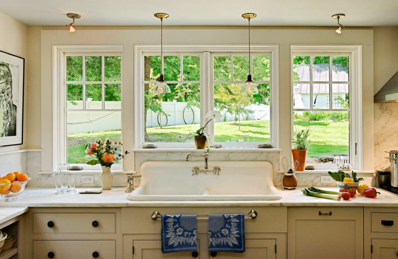 country kitchen remodel with windows