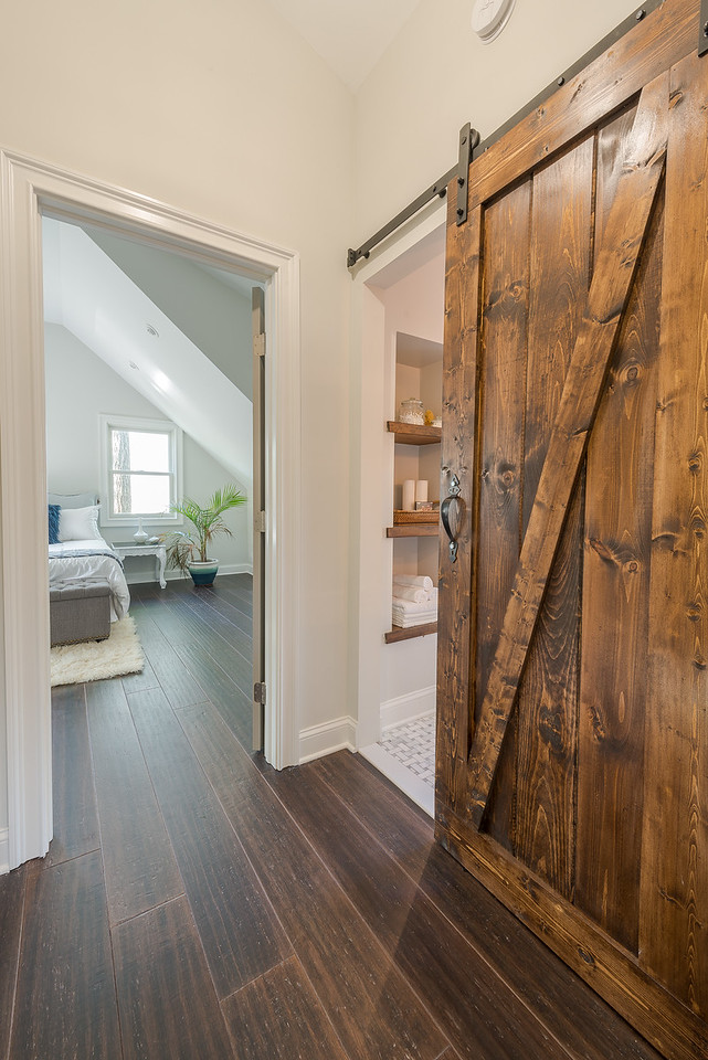 Barn Door to Bathroom in Small Cape Remodel