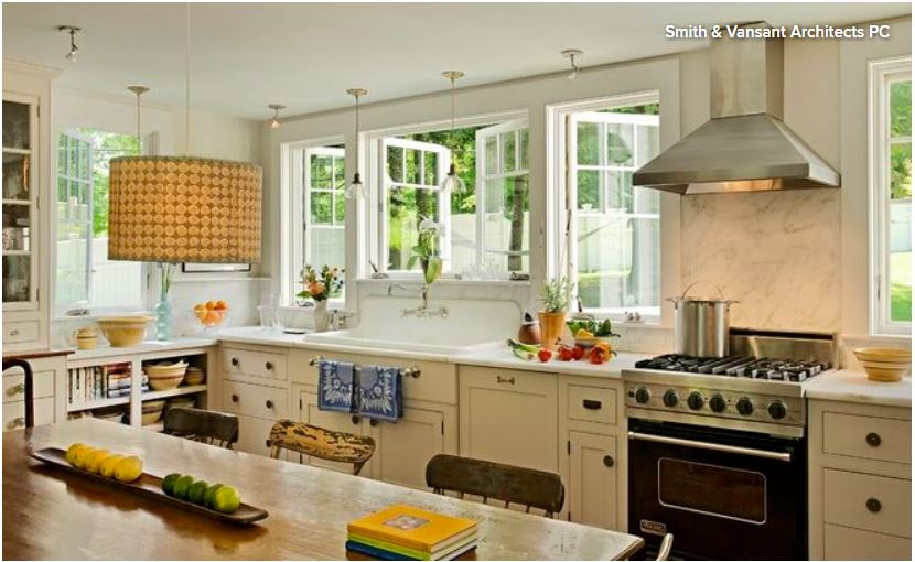 Remodeled kitchen with windows over sink