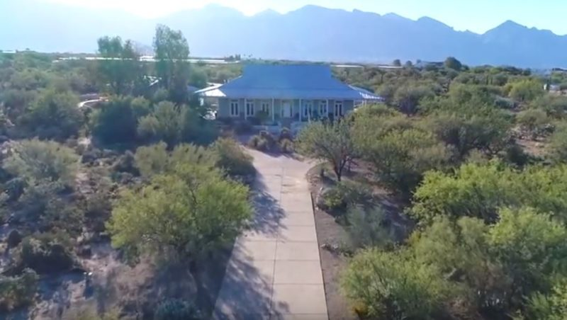 overhead view of La Cholla Airpark house for sale