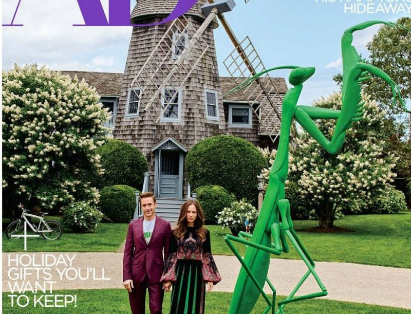 Architectural Digest cover photo of Robert Downey Jr., his wife, and their windmill house