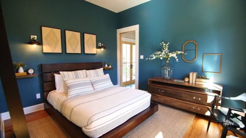 teal bedroom in tiny house fixer upper episode