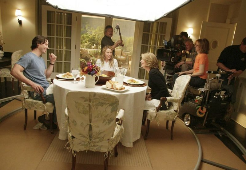 SGG dining room behind the scenes Nancy Meyers Keanu Reeves