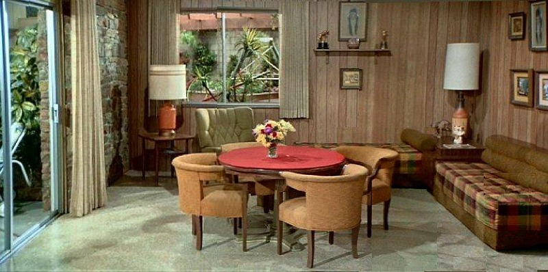 Brady Bunch Family Room with Paneling