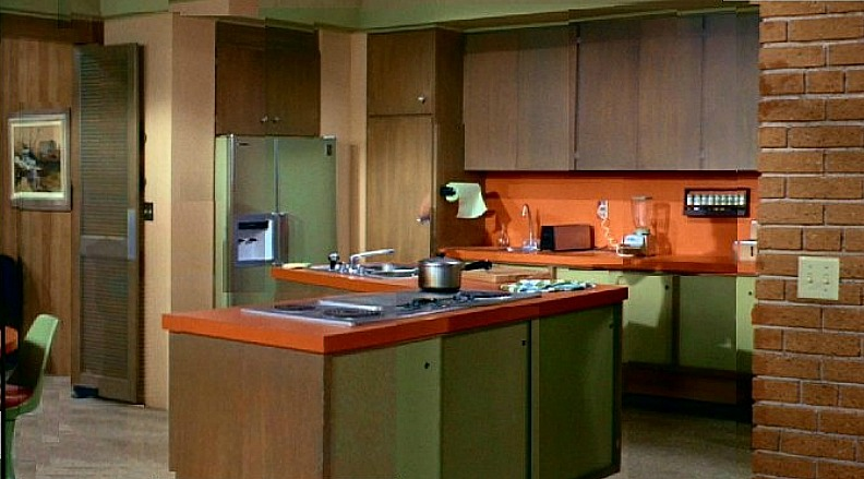 Brady Bunch house orange and avocado green kitchen