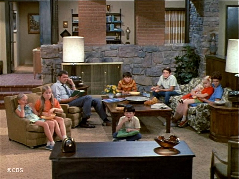 Brady Bunch living room stone fireplace SSN1