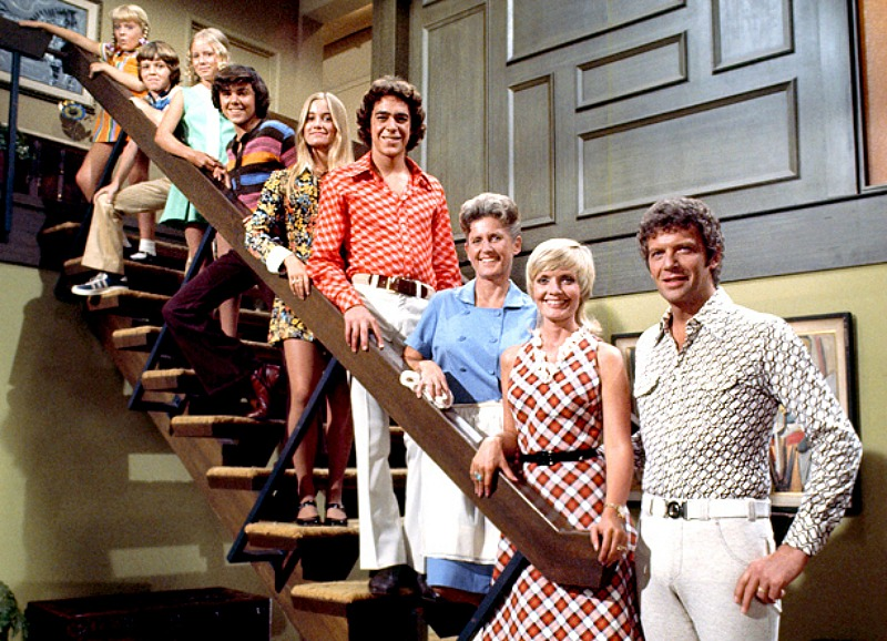 The Brady Bunch Staircase shot with cast