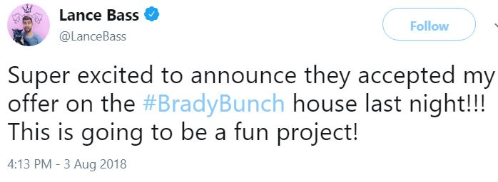 Lance Bass Twitter Brady Bunch House