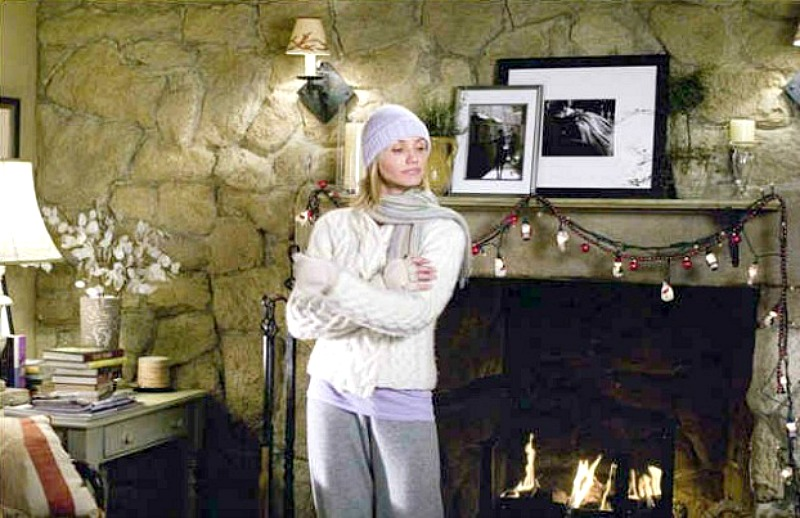 stone cottage mantel in The Holiday movie-Cameron Diaz