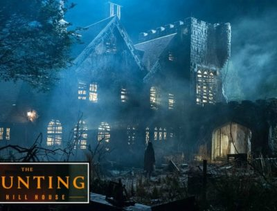 "Haunted manor from ""Haunting of Hill House"" with series logo"