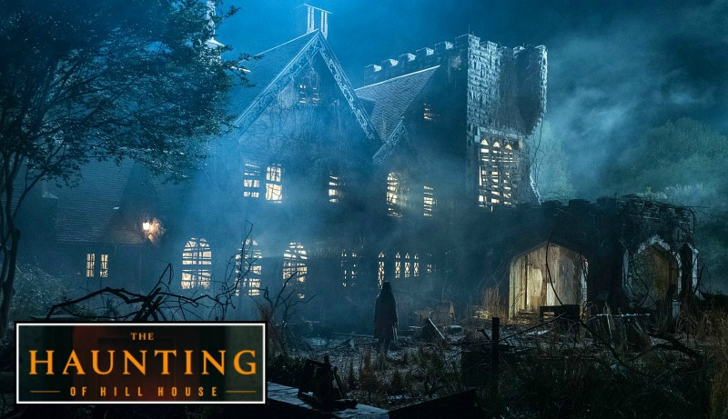 "Haunted manor from ""Haunting of Hill House\"" with series logo"