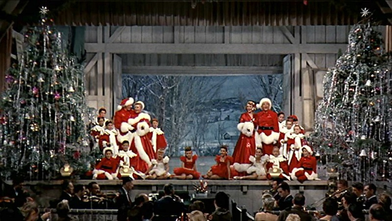 White Christmas finale scene on stage with snow