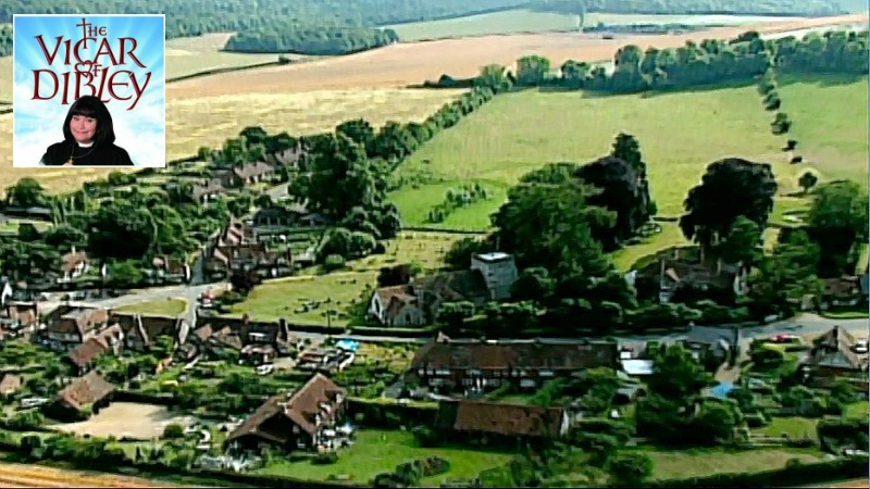 Aerial view of village in credits Vicar of Dibley