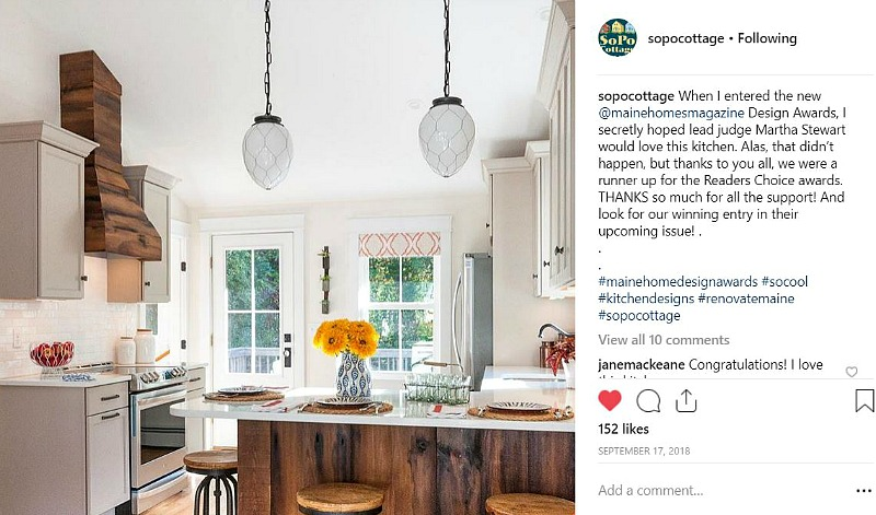 SoPo Cottage Kitchen on IG Maine Homes