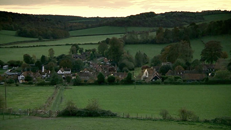 Vicar of Dibley aerial view of the village
