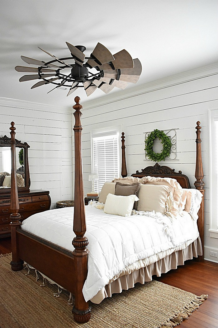 Cottage Bedroom with Shiplap Walls