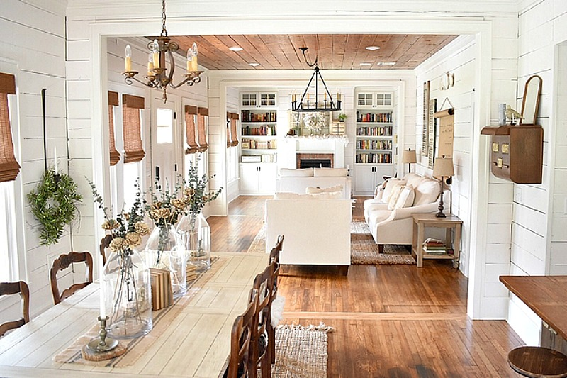 Cottage interiors with shiplap and wood plank ceiling