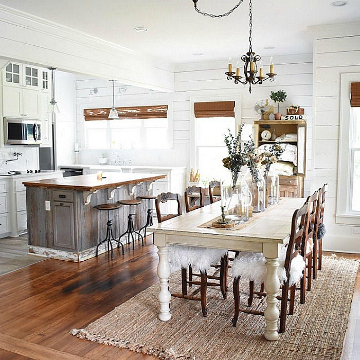 Cottage kitchen and dining room with shiplap walls