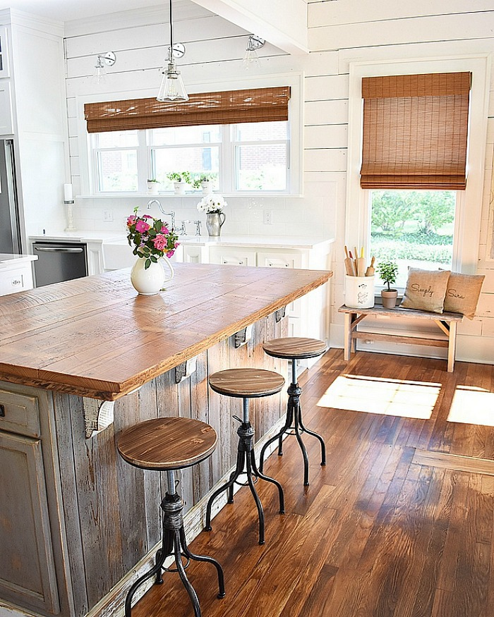 Cottage kitchen island with wood countertop