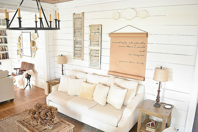 Cottage living room with shiplap