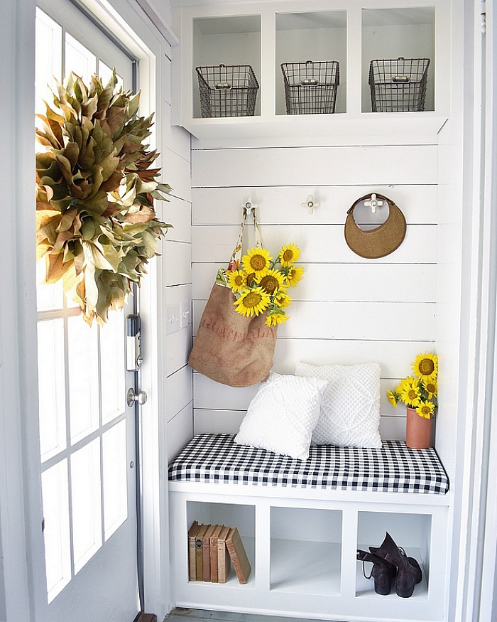 Cottage mudroom cubbies shiplap bench