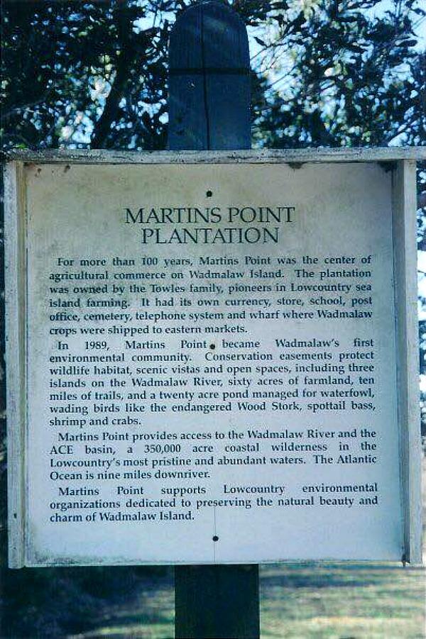 Martins Point Plantation Historic Marker