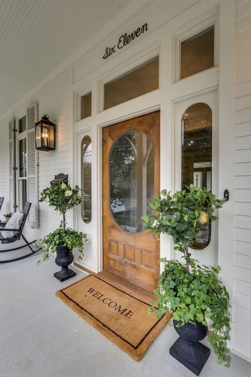 Front door of modern farmhouse in Franklin, Tennessee