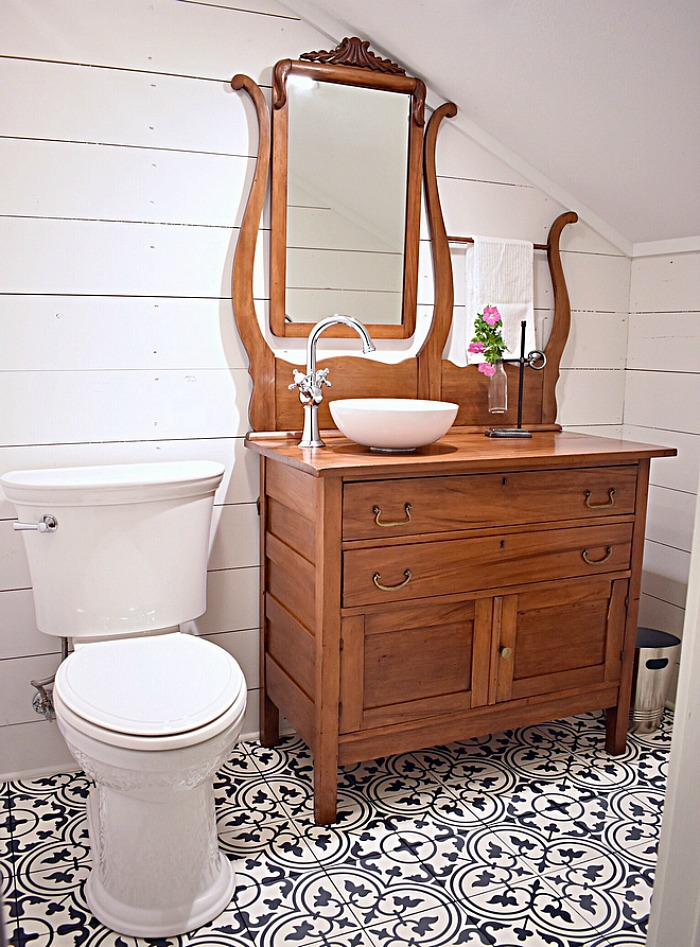 cottage bathroom shiplap antique sink vanity