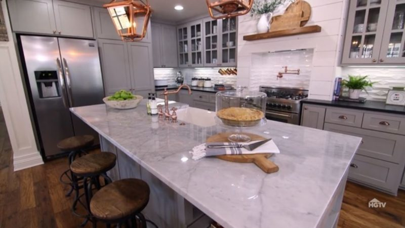 carriage house kitchen with copper accents