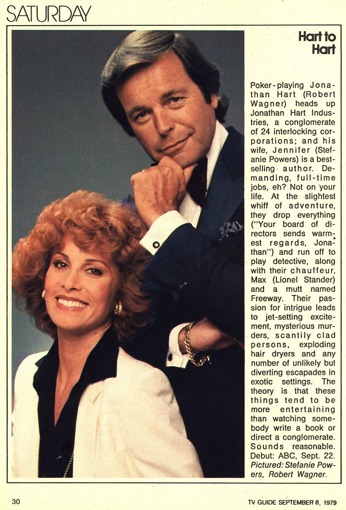 Celebrity Dining: Hart to Hart TV Guide article 1979