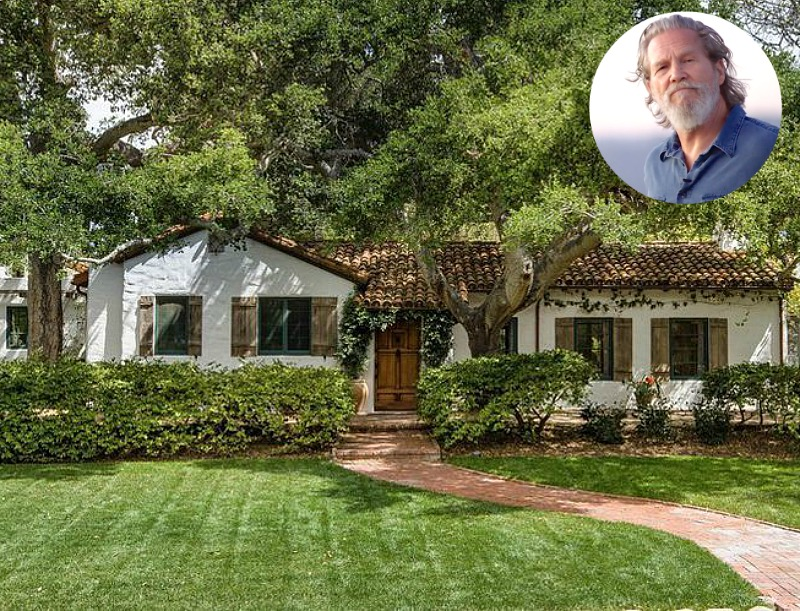 Front exterior of Jeff Bridges' Spanish Colonial-style ranch house for sale with inset image of the actor
