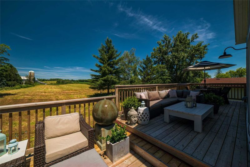 Back deck overlooking a field