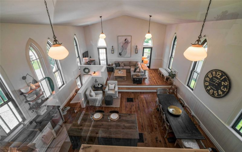 Overhead view of kitchen and living space in converted church