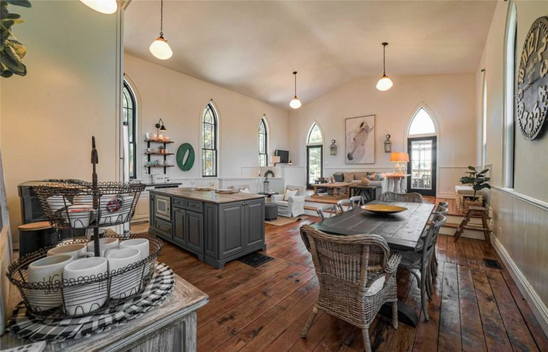 Inside converted church kitchen and living area