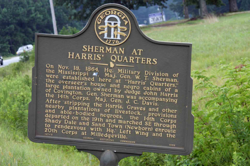 Historic location sign for Sherman at Harris\' Quarters