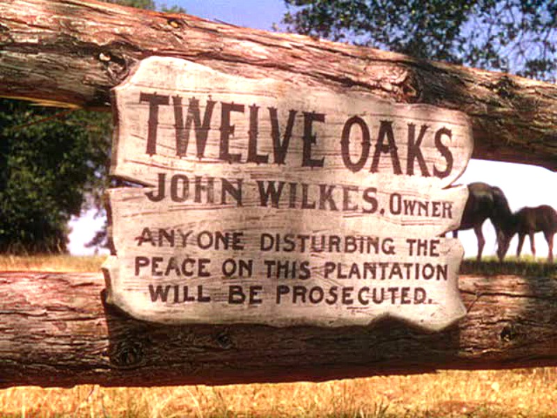 Twelve Oaks Plantation Sign Gone With the Wind movie