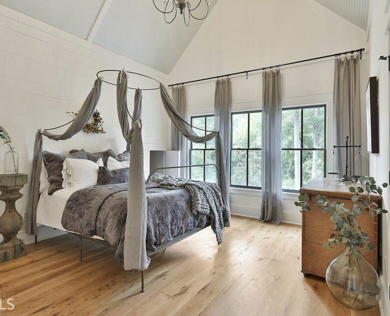 Modern Farmhouse Bedroom with Vaulted Ceiling