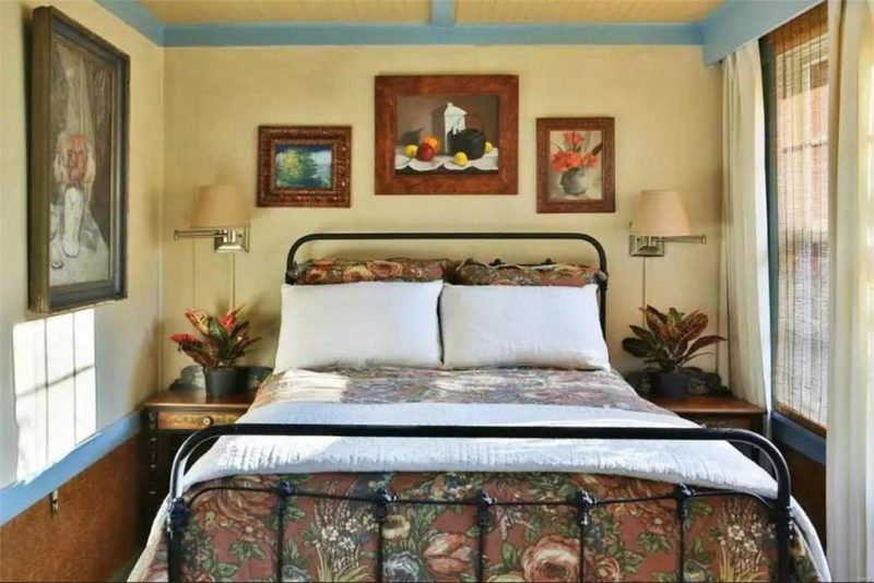 Bed with iron headboard and footboard