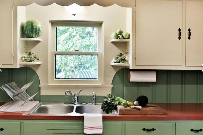 Closeup of kitchen sink and window
