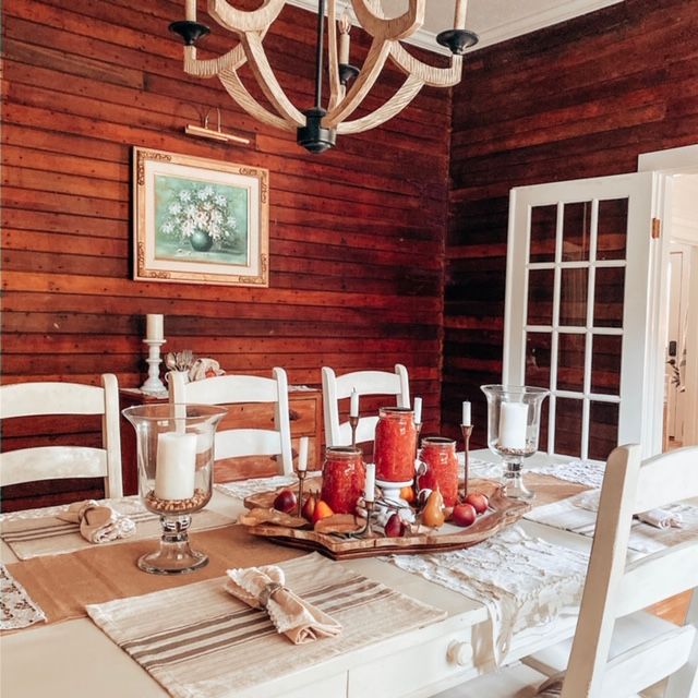 Dining room table and chairs in farmhouse
