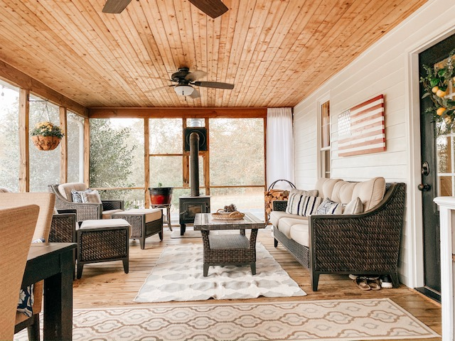 Screened porch with wood-burning stove