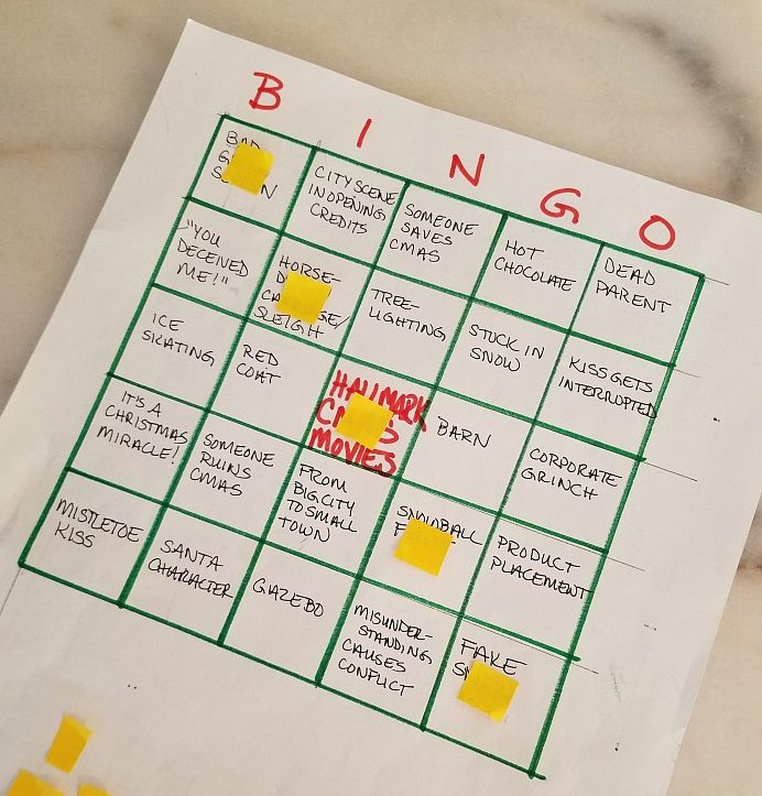 Homemade Christmas Movie Bingo Card closeup