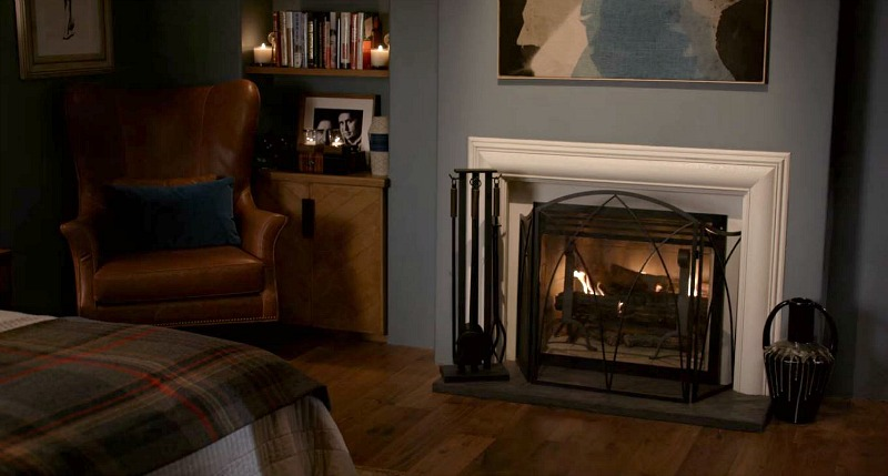 master bedroom fireplace Grace and Frankie